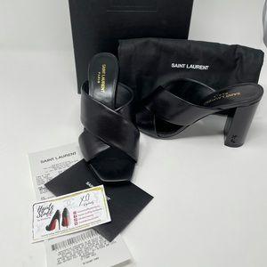 YSL Black Logo Heels Slides leather size 38
